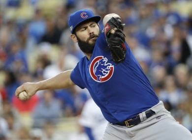 Jake Arrieta pitched five hitless innings to help the Cubs.