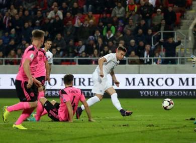 Slovakia's Robert Mak scores against Scotland.