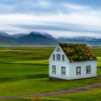 A typical roof of an Icelandic house covered with turf. It has the mission to make the most comfortable house during the harshest climate.<span class=
