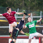 Shane McGuigan scores a goal for Slaughtneil.<span class=