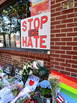 Memorial outside the landmark Stonewall Inn for the victims of the mass shooting in Orlando in 2016 in New York City.
