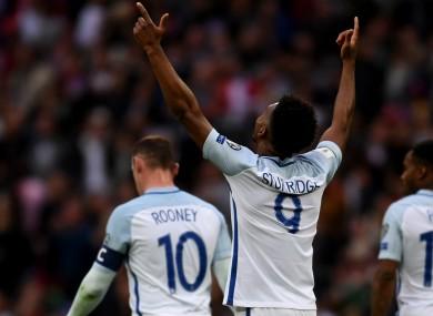 Daniel Sturridge celebrates scoring for England against Malta.