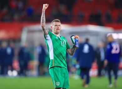 Match-winner James McClean celebrates the win over Austria.