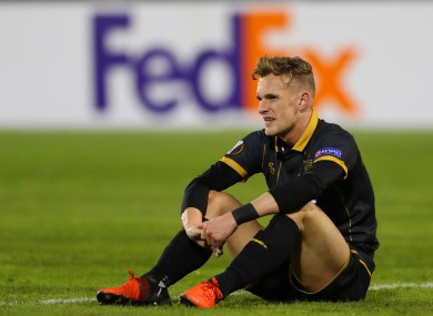 Dean Shiels dejected at the final whistle last night.