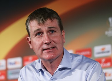 Stephen Kenny speaking at Tallaght Stadium this afternoon.