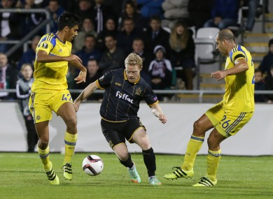 Daryl Horgan pictured playing for Dundalk against Maccabi Tel-Aviv.