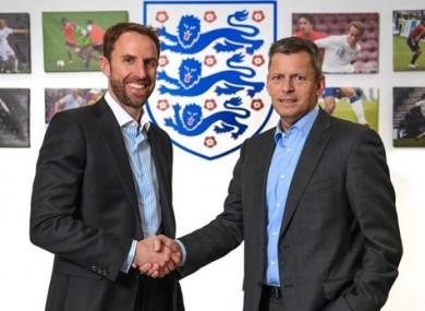 Southgate with FA CEO Martin Glenn.