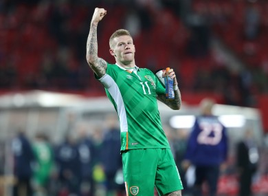 James McClean celebrates Ireland's win.