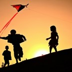 Paul Moore took this picture of his children flying a kite on Croghan Hill.