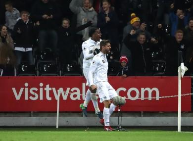Swansea City's Fernando Llorente celebrates scoring.