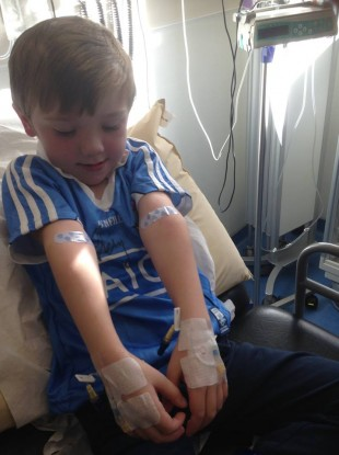 TJ in hospital for his IVS treatment.