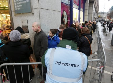 Garth Brooks fans queue outside St Stephens Green Shopping Centre in Dublin.