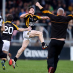 Tony Kelly leaps with joy after Ballyea's Banner breakthrough.<span class=