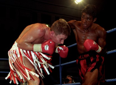 Challenger Kevin Lueshing lands a right to the head of defending champion Chris Saunders in a 1996 British welterweight bout.