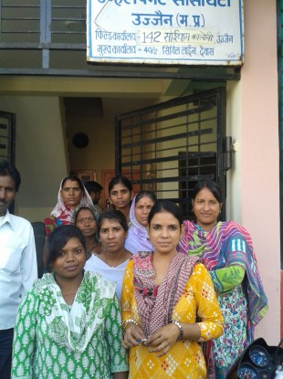 Brabha Borasi (front left), Mumdaz Ansari (front right) with colleagues at the Jan Sahas field office in Ujjain, which focuses on helping victims of sexual violence.