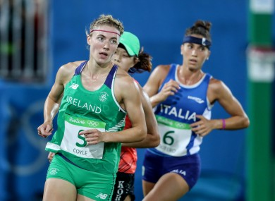 Natalya Coyle in action in the running and shooting leg of the modern pentathlon in Rio.