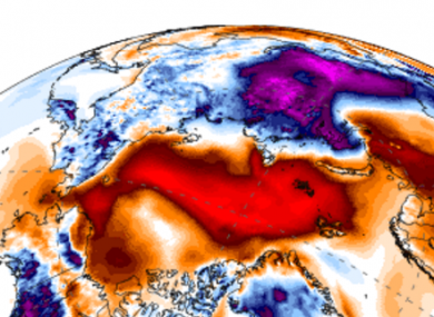 Temperatures in the North Pole could rise to close to zero today.