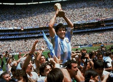 Diego Maradona of Argentina celebrates with the cup at the end of the 1986 World Cup soccer final in the Atzeca Stadium, in Mexico City.