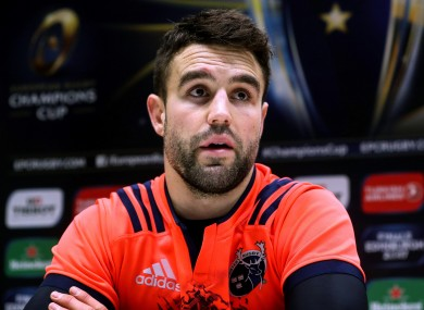 Conor Murray speaking to the media today at UL.