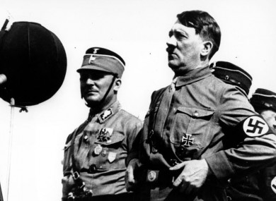 German chancellor Adolf Hitler speaking to 30,000 uniformed Nazi storm troopers at Kiel, Germany in 1933.