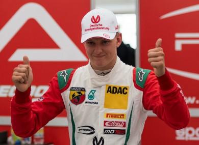 Mick Schumacher celebrates a F4 victory