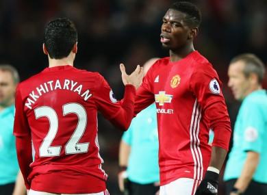 Manchester United duo Henrikh Mkhitaryan and Paul Pogba.