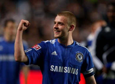 Conor Clifford celebrates after captaining Chelsea to win the FA Youth Cup at the expense of Aston Villa.