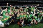 The Carrickshock players celebrate their All-Ireland victory.