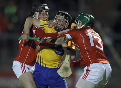 Nowhere to run: Clare's Jack Browne crowded out by Darragh Fitzgibbon and Alan Cadogan.