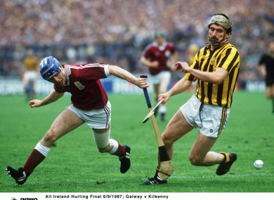 Eanna Ryan of Galway and John Henderson of Kilkenny during the 1987 All-Ireland final.