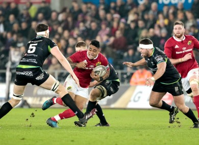 The incident in question happened 51 minutes into Munster's win at the Liberty Stadium.