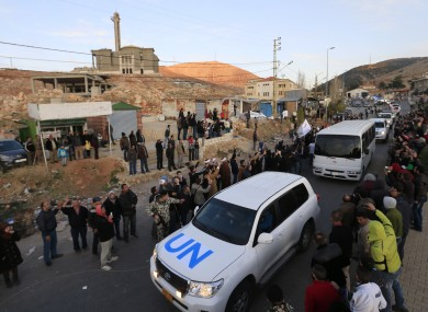File photo: Syrian fighters leave Zabadani last year.
