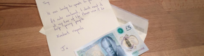 An elderly woman from Donegal found a fiver worth €58,500 and gave it all to charity