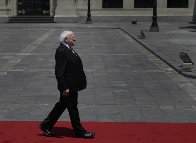 President Michael D. Higgins arrives to the government palace in Lima, Peru, last week.