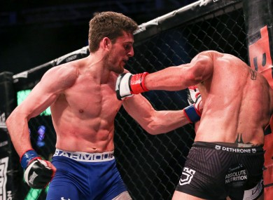 Joe McColgan putting the pressure on Peter Queally during their bout last September at the 3Arena.