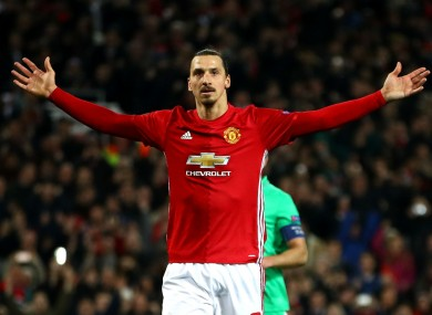 Manchester United striker Zlatan Ibrahimovic scores against Saint-Etienne.