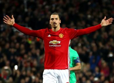 Manchester United striker Zlatan Ibrahimovic scores against Saint-Etienne.
