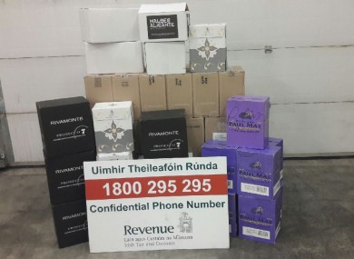 The wine seized by Revenue.
