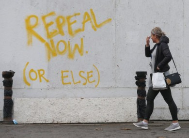 Graffiti on Pearse Street in Dublin calling for a referendum on the Eighth Amendment.
