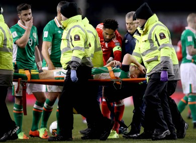 Coleman stretchered off during last night's game.