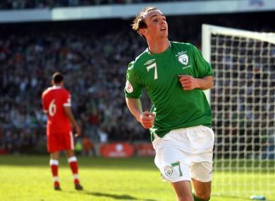 Ireland's Stephen Ireland celebrates scoring the opening goal against Wales.