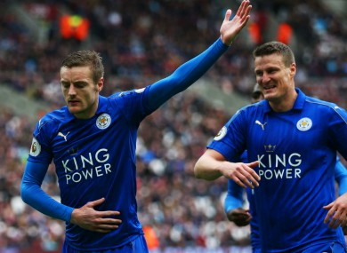 Leicester City goalscorers Jamie Vardy and Robert Huth.