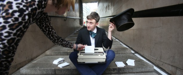 Poet Lewis Kenny writes poems on demand for passers-by in Temple Bar today, as Lewis helped launch this years Poetry Day Ireland. Poetry Day Ireland will be taking place this Thursday 27 April with over 100 events all around the country, many of them free.