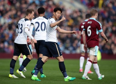 Tottenham Hotspur's Son Heung-Min (centre) celebrates scoring his side's second goal of the game.