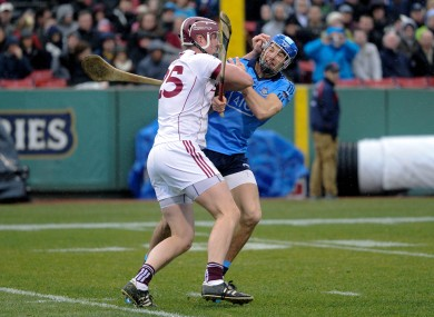 Galway's James Skehill and Eamon Dillon of Dublin get to grips with each other at Fenway Park in 2015.