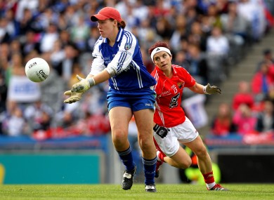 Linda Martin clears the danger for Monaghan in the 2011 All-Ireland final against Cork.