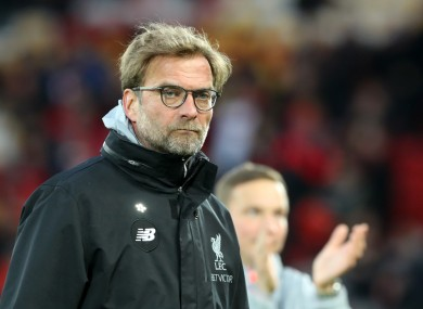 Liverpool manager Jurgen Klopp during the Premier League match at Anfield.