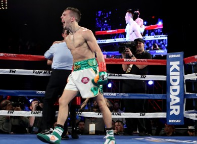 Michael Conlan celebrates his win against Tim Ibarra.