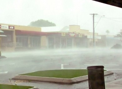 Wind gusts outside shops in Bowen, eastern Australia