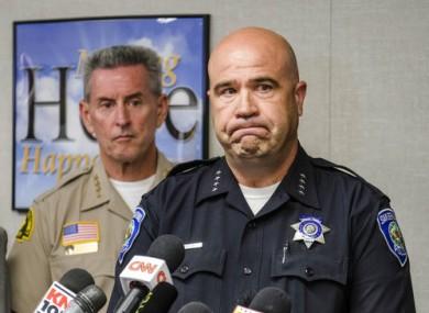 San Bernardino Police Department Chief Jarrod Burguan (right)